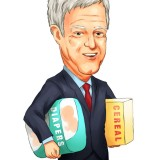 Mario Gabelli with cereal box