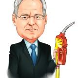 Peter Voser holding pump