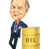 T Boone Pickens with oil bin